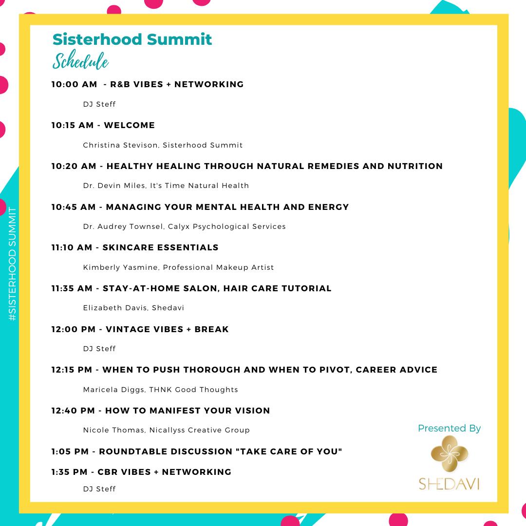 Sisterhood Summit Schedule